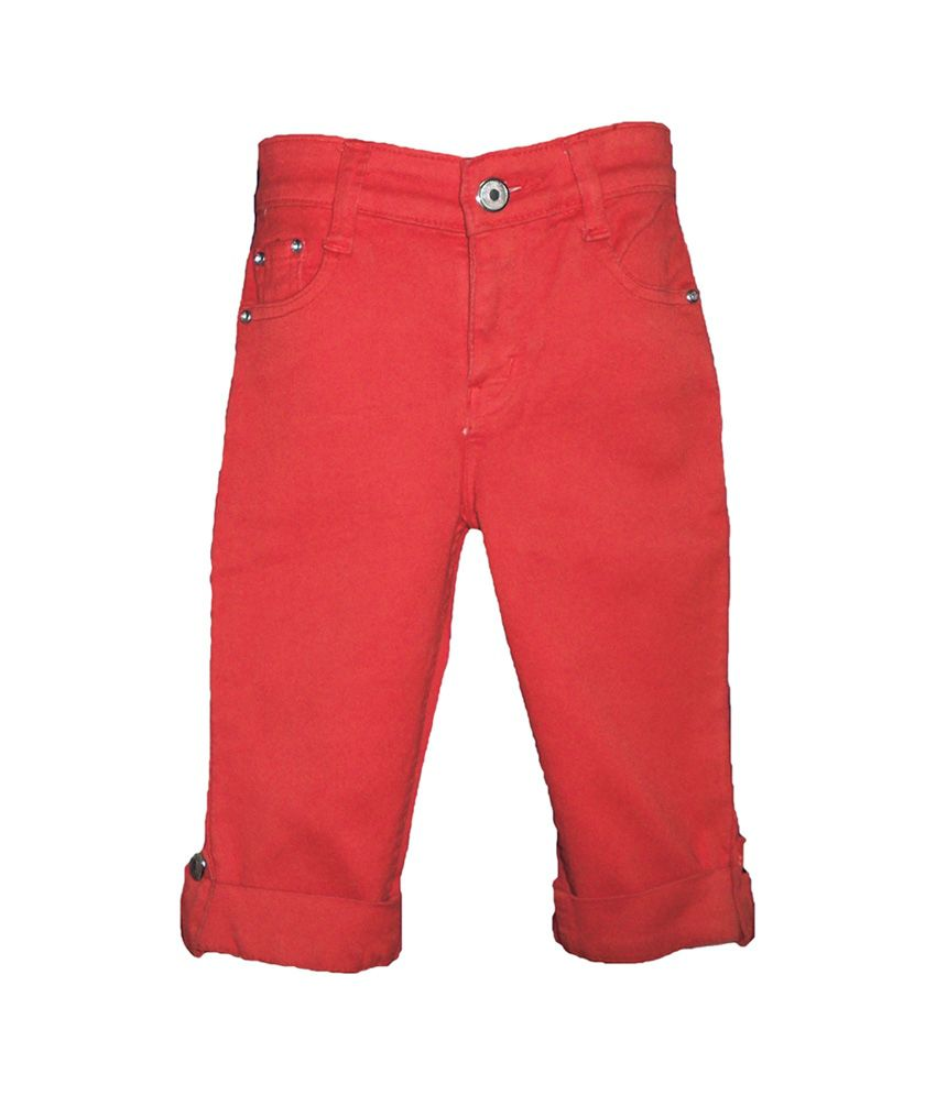 Brisa Solid Red Stretch Denim Capri With Adjustable Waist Band