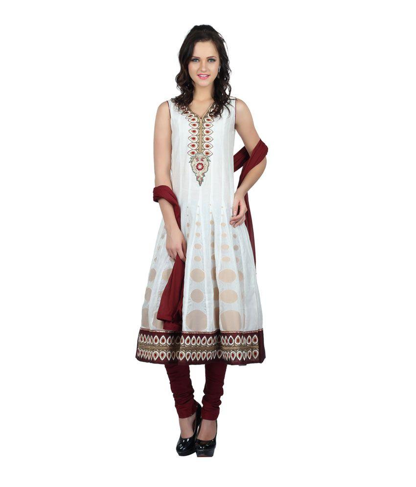 Cee 18 Cream Chanderi Silk Anarkali Salwar Suit For Women
