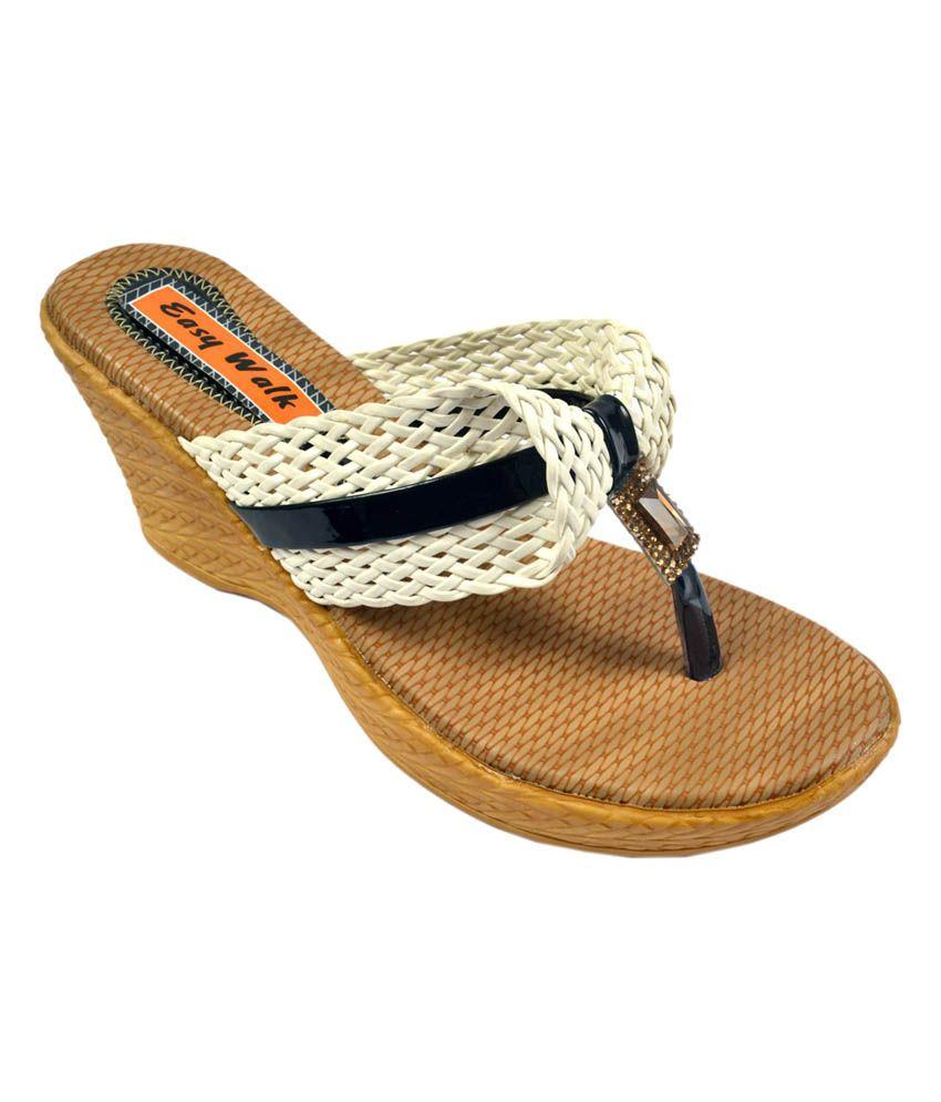 Easy Walk White Medium Heel Leather Thong Sandal