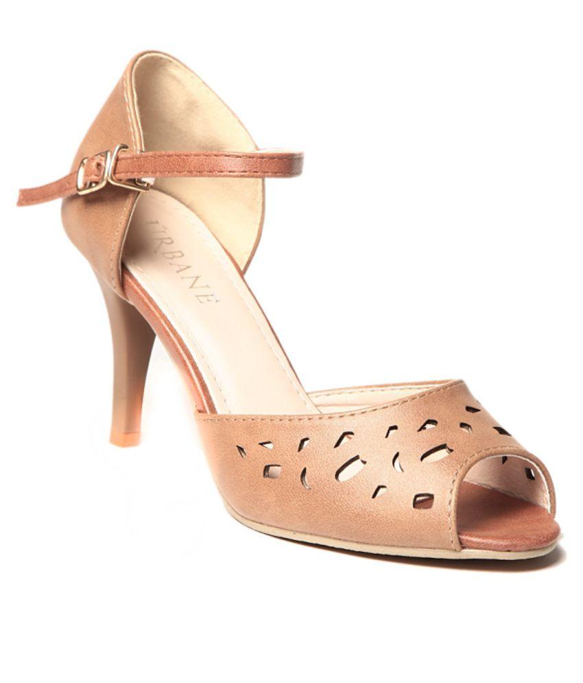 Urbane Sober Beige Heeled Sandals