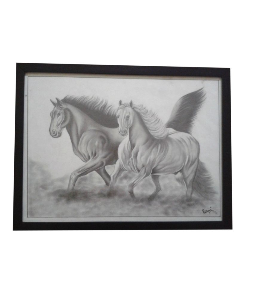 Art e facts glass framed pencil shading painting of horses buy art