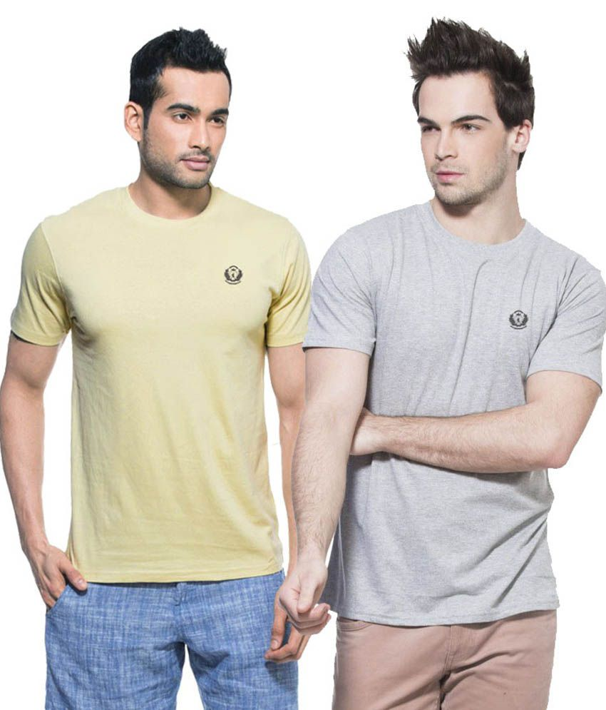 D Vogue London Beige Cotton Round Neck Half Sleeves T-Shirt - Pack of 2