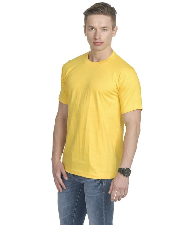 Fundoo-T Yellow Cotton Round Neck Half T-Shirt