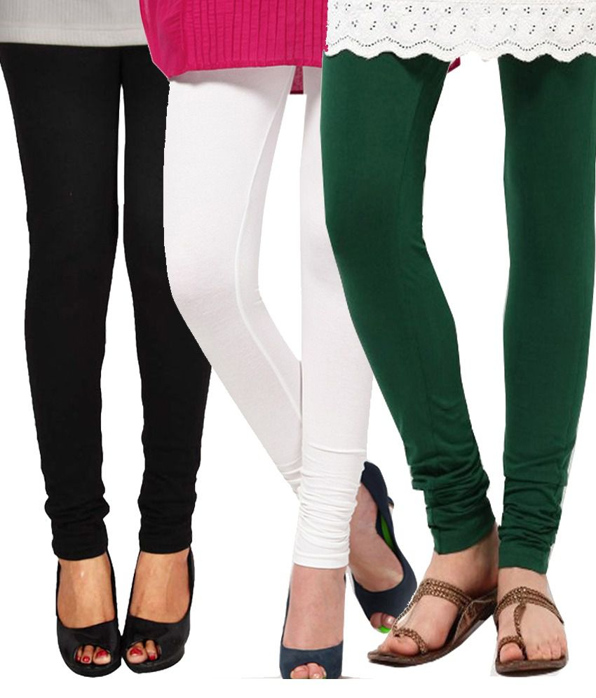 Famaya Multi Color Cotton Leggings - Pack Of 3