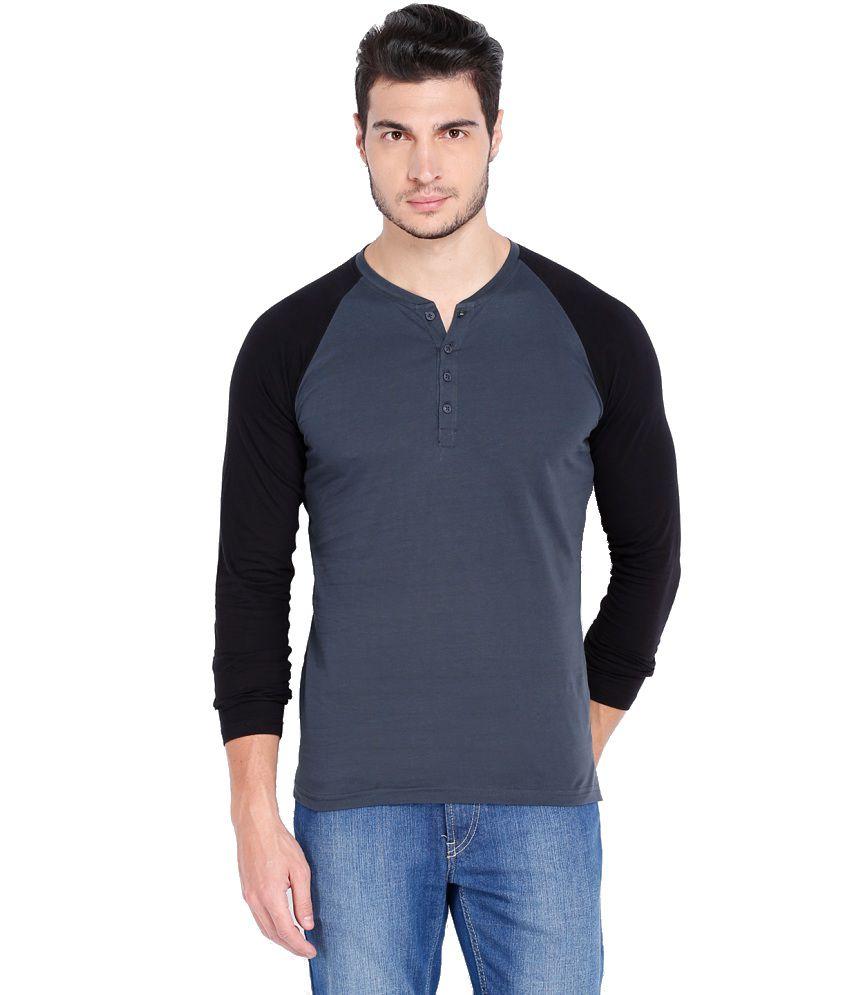 Highlander Gray & Black Cotton Henley T shirt