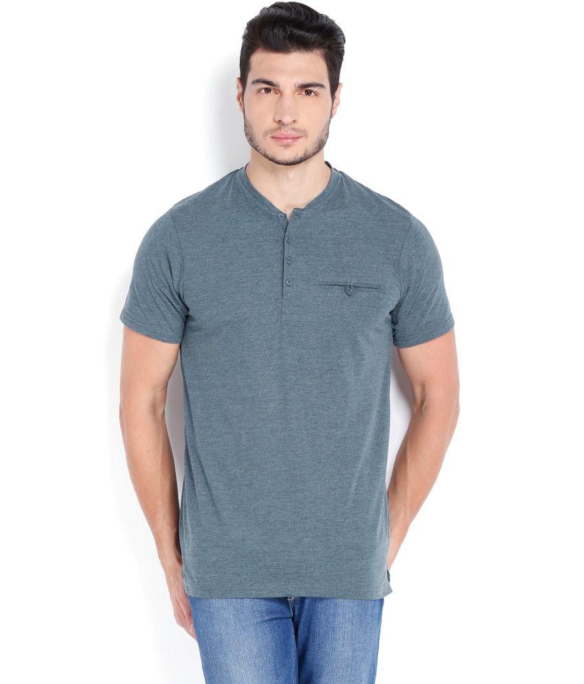 Highlander Gray Cotton Blend Henley T shirt