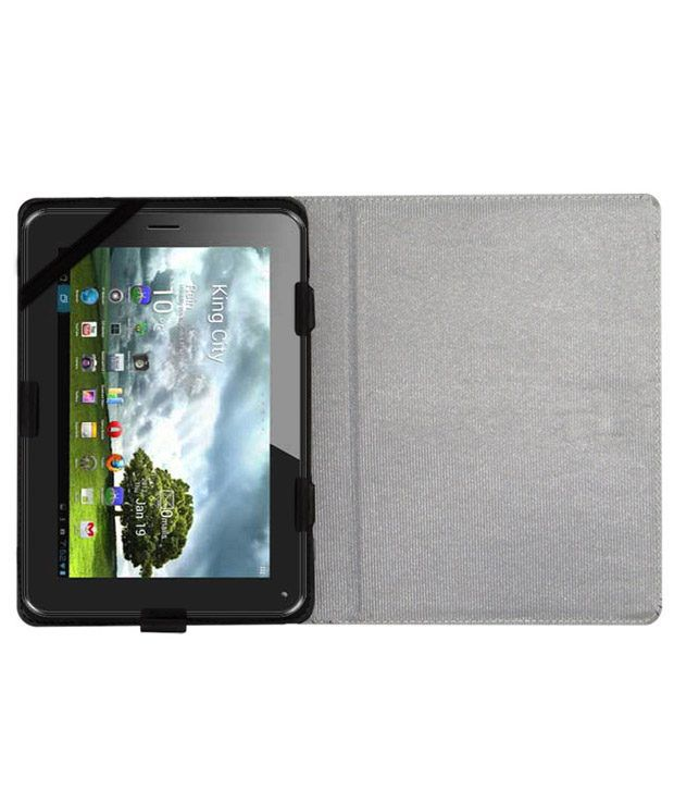 ACM Leather Flip Flap Tablet Holder Carry Case Stand Cover For Zync Z99 White