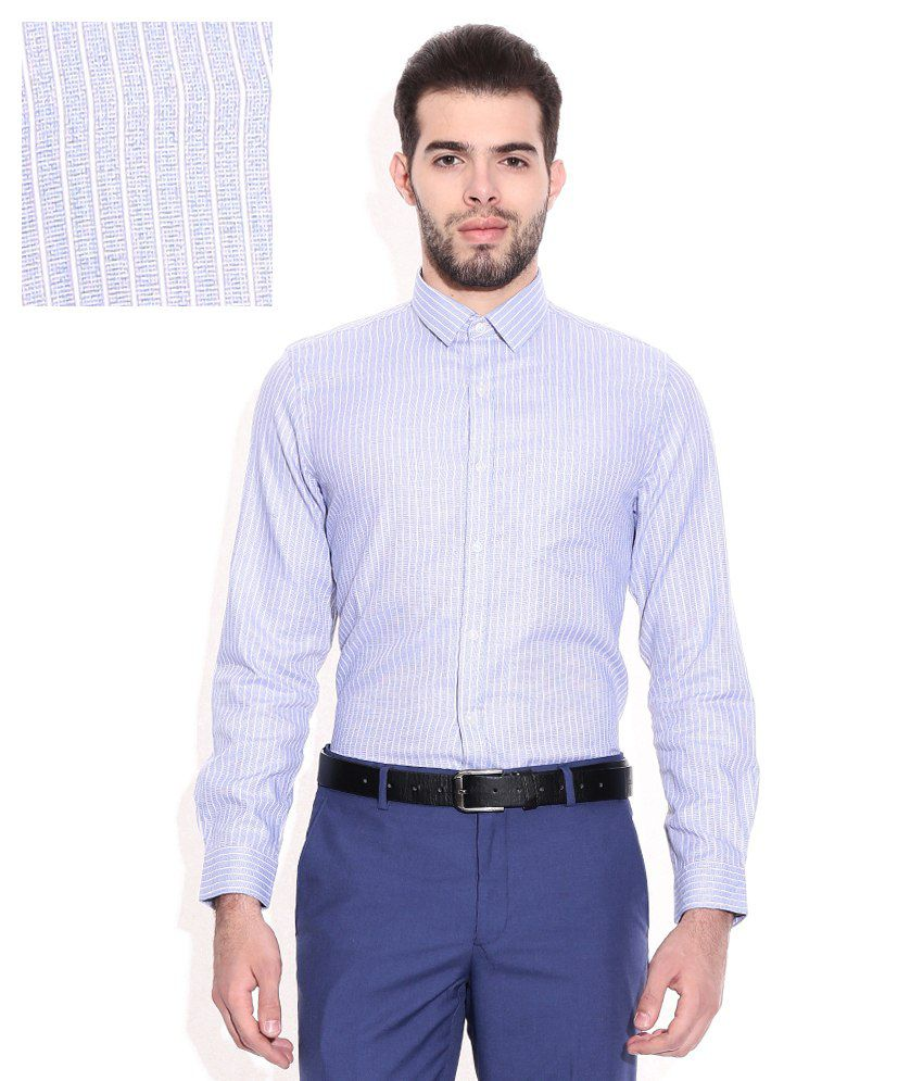 Elitus blue slim fit formal shirt buy elitus blue slim for Trim fit tuxedo shirt