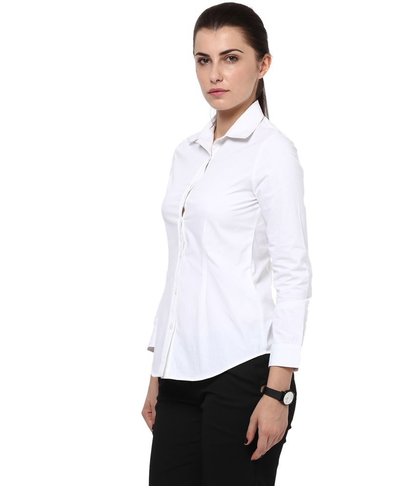 Buy Kaaryah Women s White Full Sleeve Formal Shirts Online at Best ... 6c58d6840