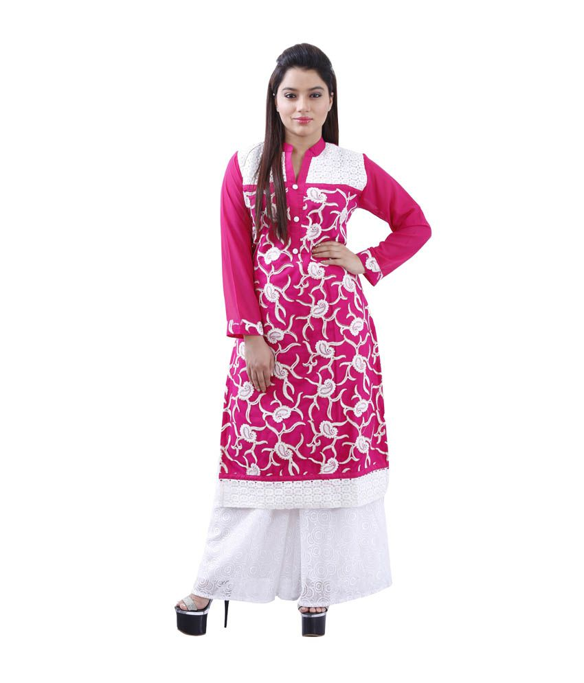 Colors That Compliment Pink maurya mix n match pink georgette long kurti with white embroidery