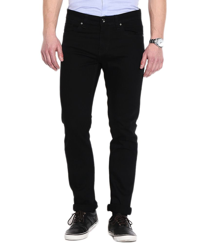 Petre John Black Cotton Blend Regular Fit Jeans for Men