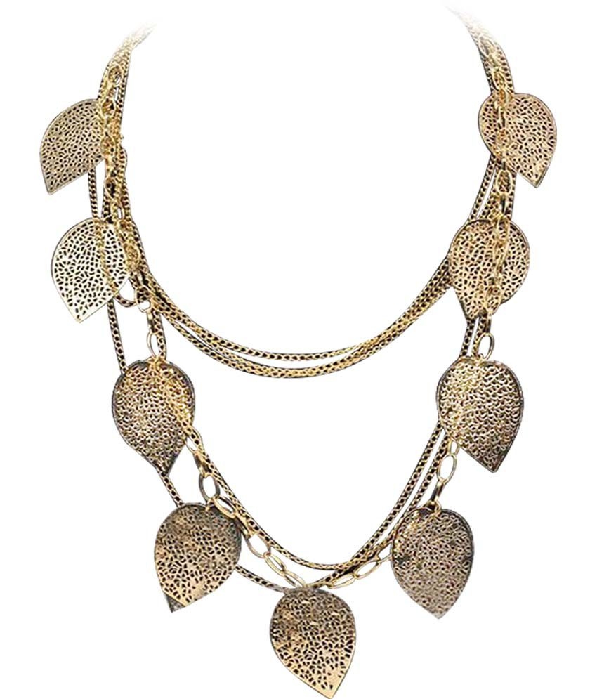 Stylovy Golden Alloy Long Haaram Coloured Bead Necklace