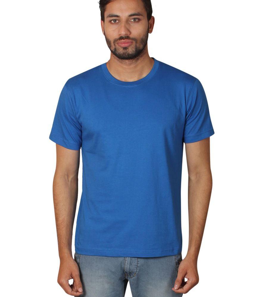 Zovogue Edge Plain Blue Men's Round Neck T-Shirt
