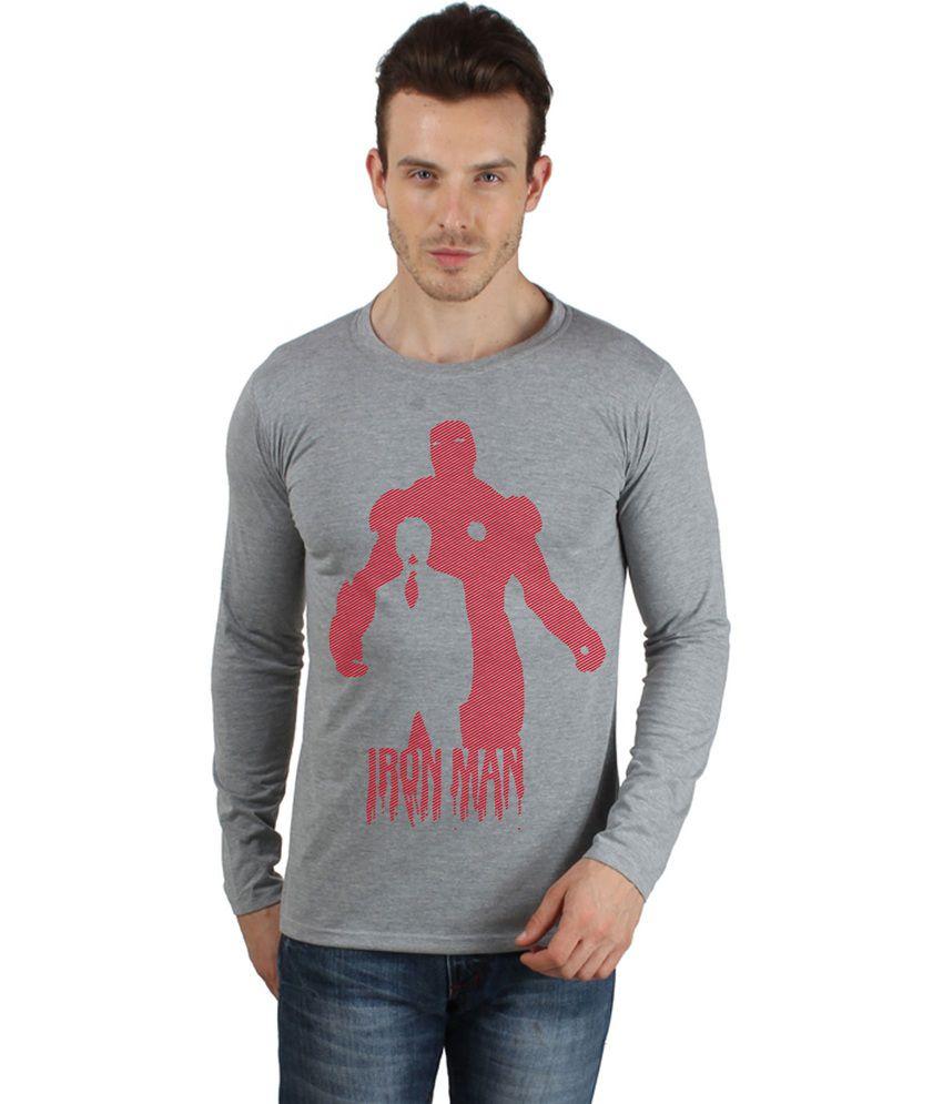 say it loud Gray Iron man Printed Cotton T Shirt