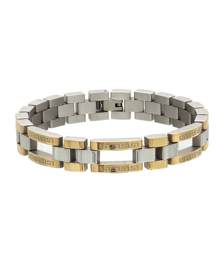 Svvelte Stainless Steel Duo Coloured Chunky Linked Bracelet for Men