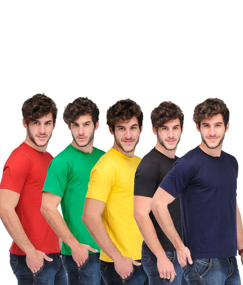 TSX Combo Of 5 Multi-Coloured Basic T Shirts