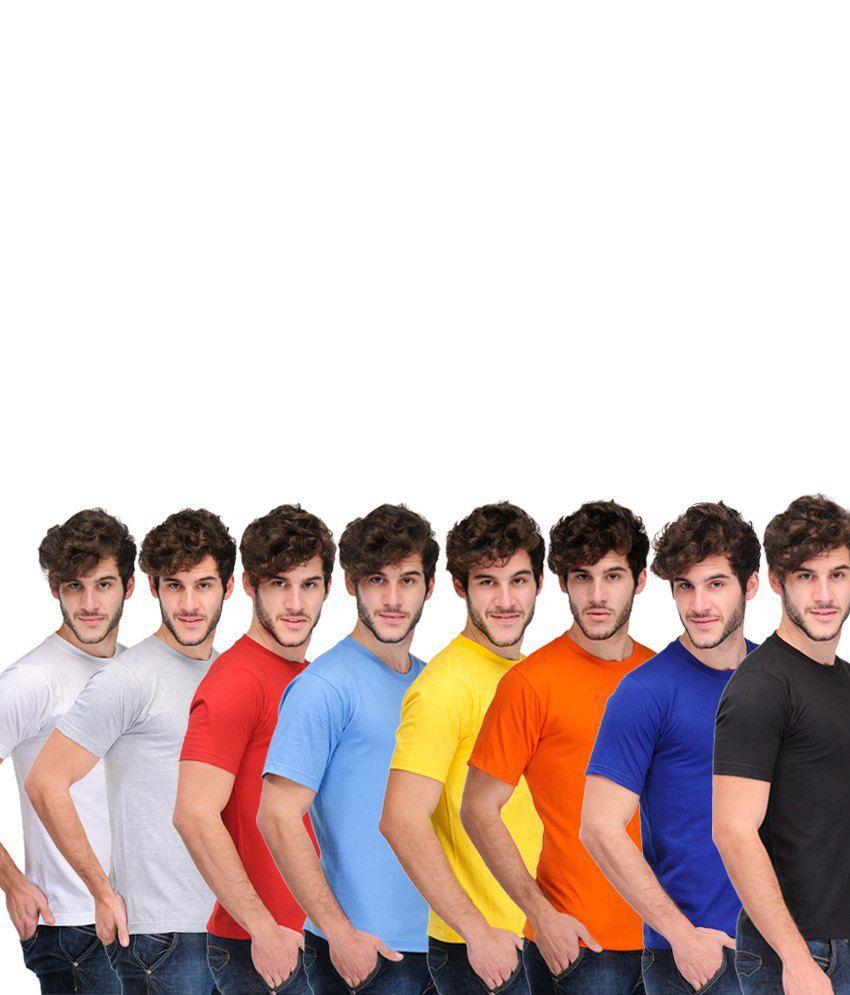 TSX Combo Of 8 Multi-Coloured Basic T Shirts