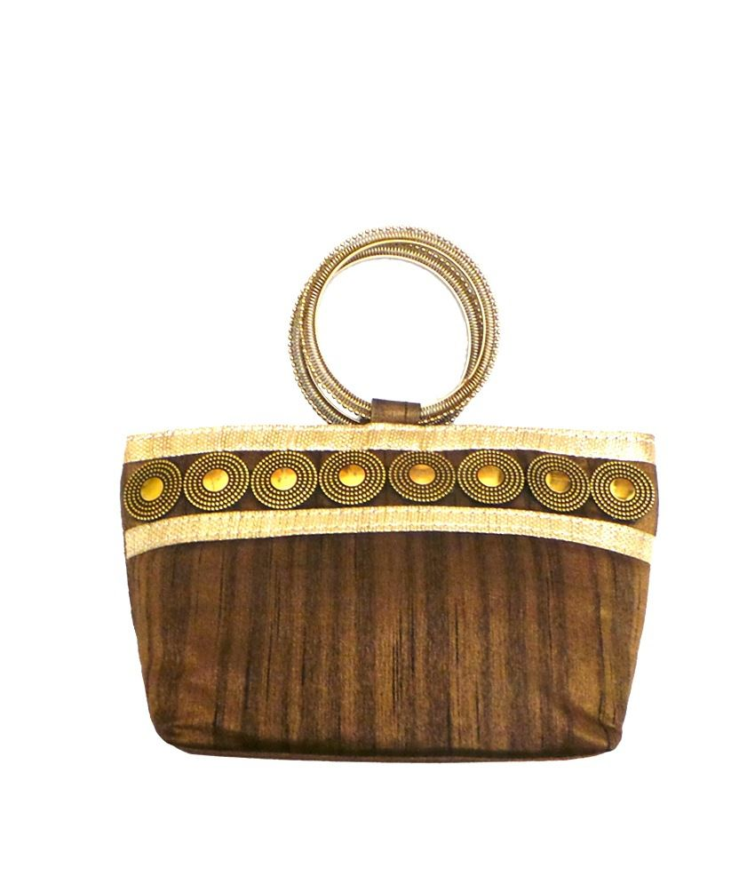 Bhamini Coin Embedded Boat Shaped - Small Bangle Bag - Brown