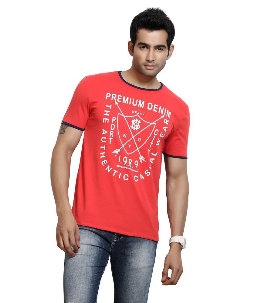 DC Red Cotton Round Half Sleeves T-Shirt