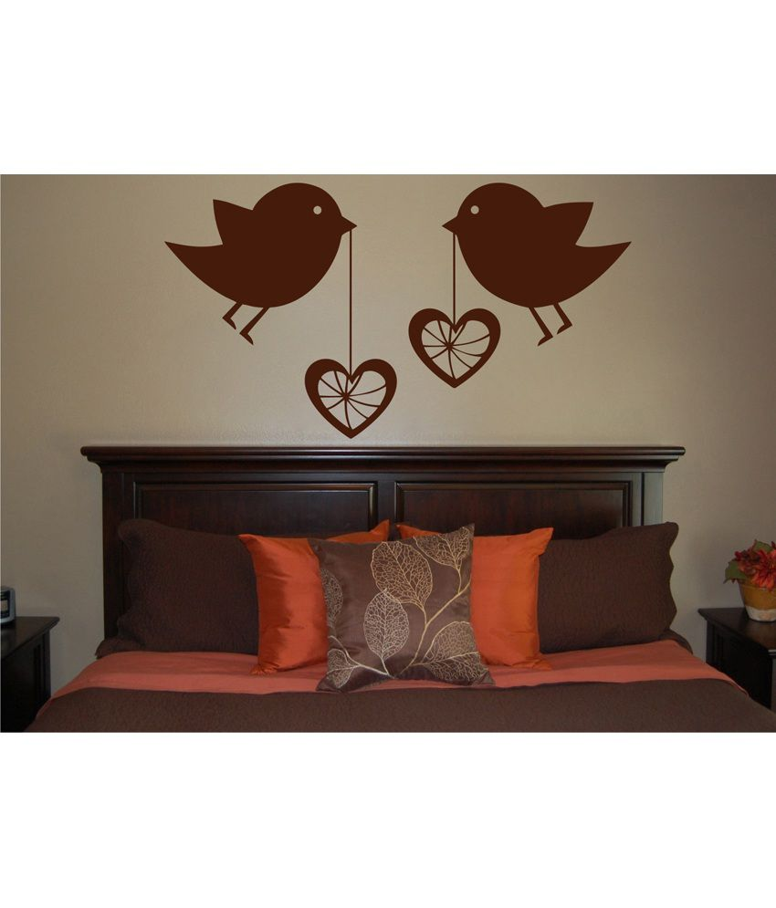 Decor kafe brown decal style love birds wall sticker buy for Decor to adore