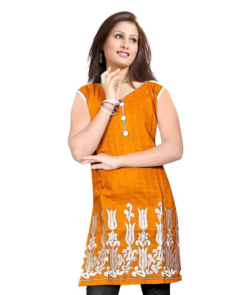 Navkar Brown & White Cotton Kurti