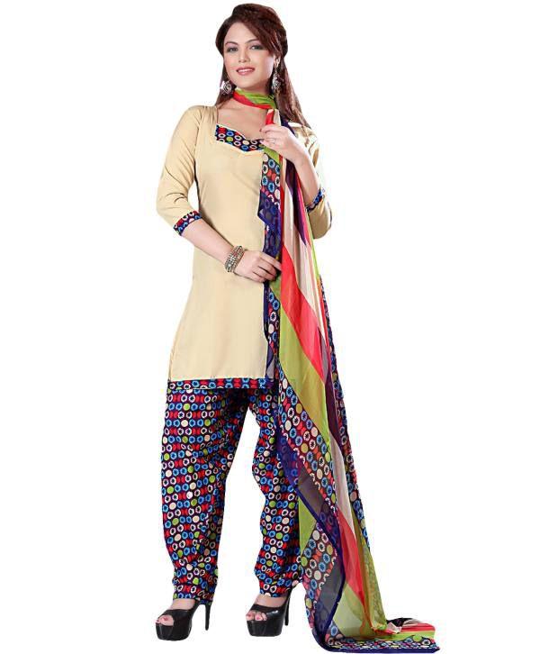 Suchi Fashion Beige Art Crepe Unstitched Dress Material