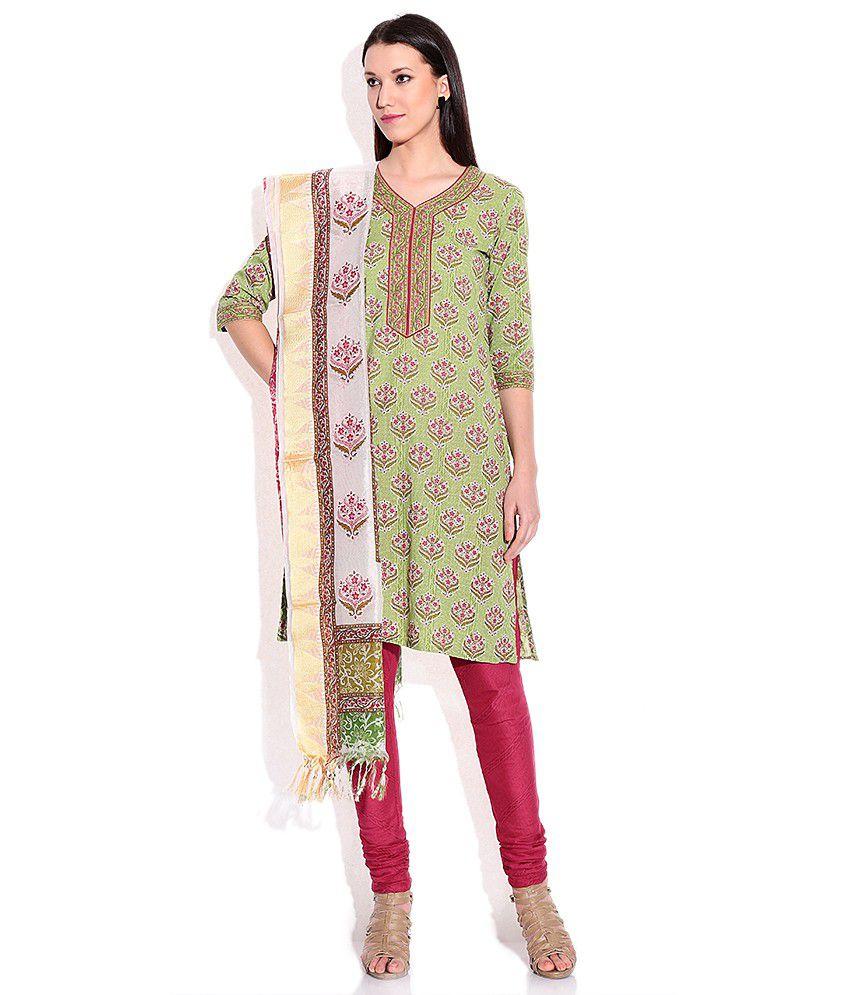 Biba Green Salwar Kurta With Dupatta
