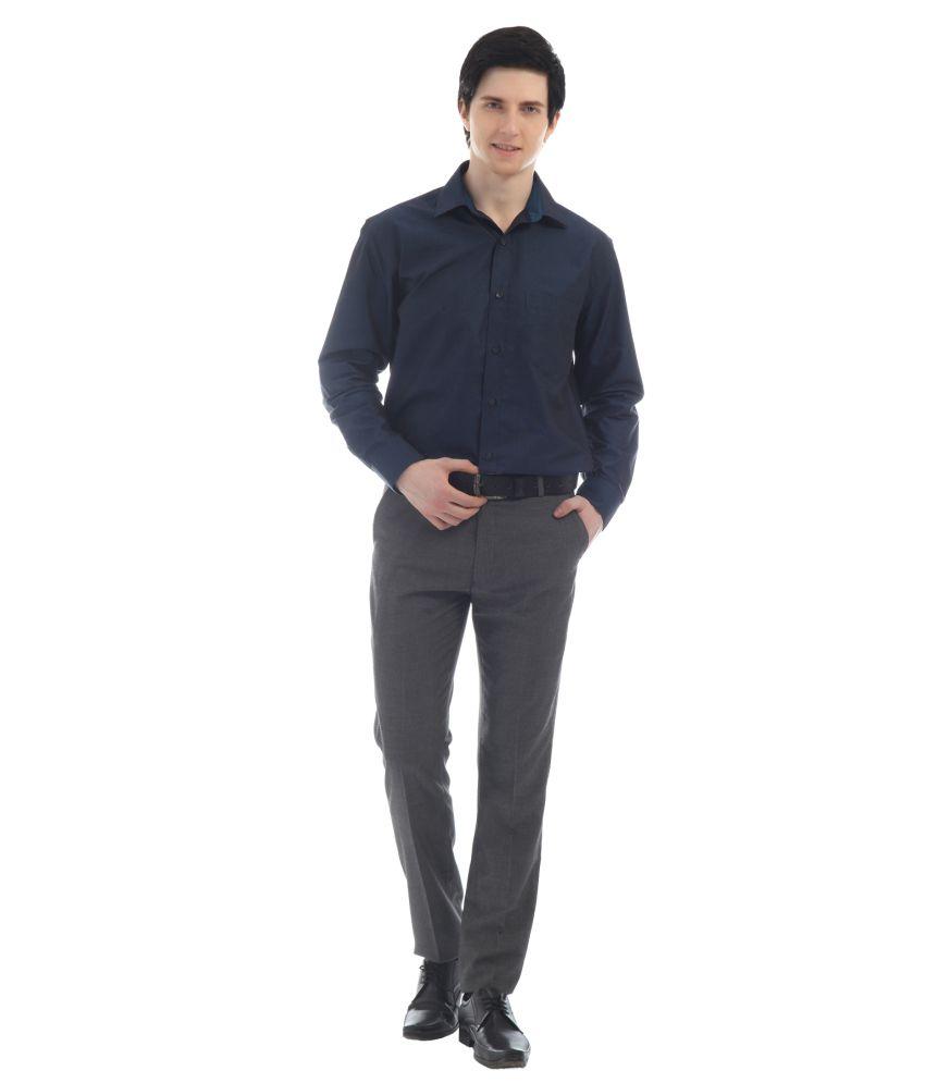 TT Gray Poly Viscose Slim Formals Trouser