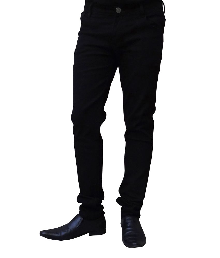 Club Vintage Black Cotton Slim Fit Jeans