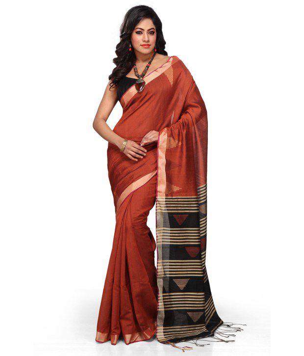 Handloom Tant Saree Maroon Cotton Bengal Tant Saree