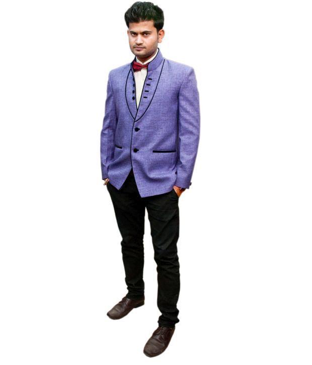 LC Creation Purple Cotton Blend Blazers For Men