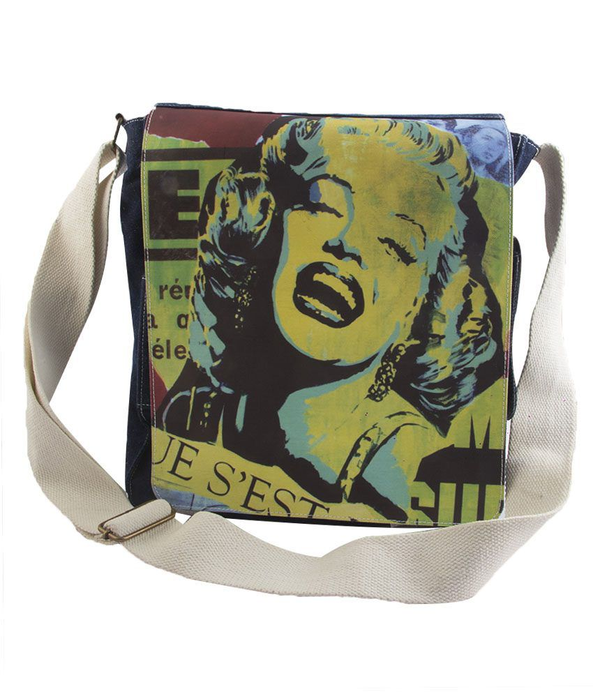 Oorja Black Canvas Digital Print Bags For Women