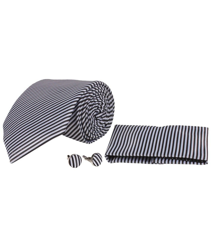Sampada Black & White Stripes Broad Tie With Cufflinks And Pocket Square In Gift Box