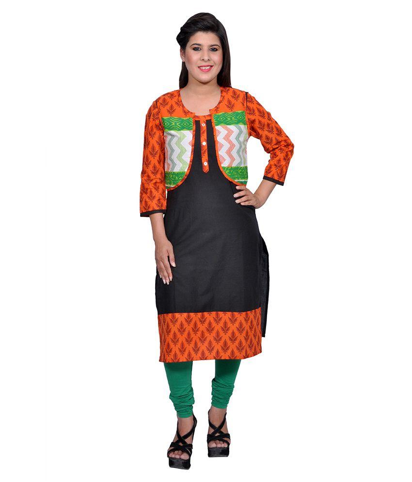 Vasudha Black Printed Cotton Kurti