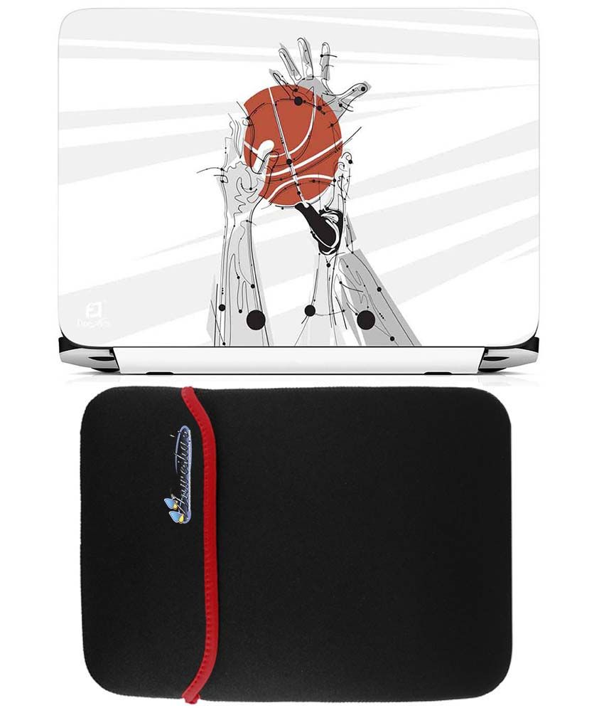 Anwesha's Reversible Laptop Sleeve with Laptop Skin - 15.6 inch Basketball