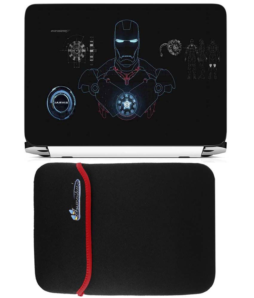 Anwesha's Reversible Laptop Sleeve with Laptop Skin - 15.6 inch Ironman Suit