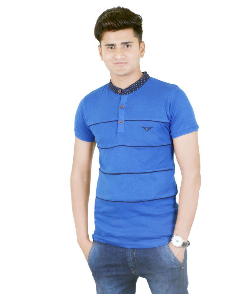 BUFF Cotton Blend Blue Half T Shirt