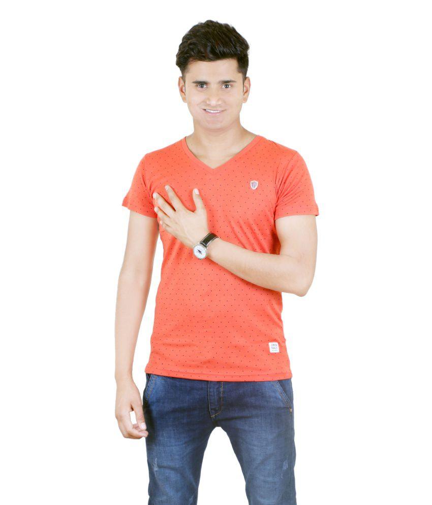 BUFF Cotton Blend Orange Half T Shirt