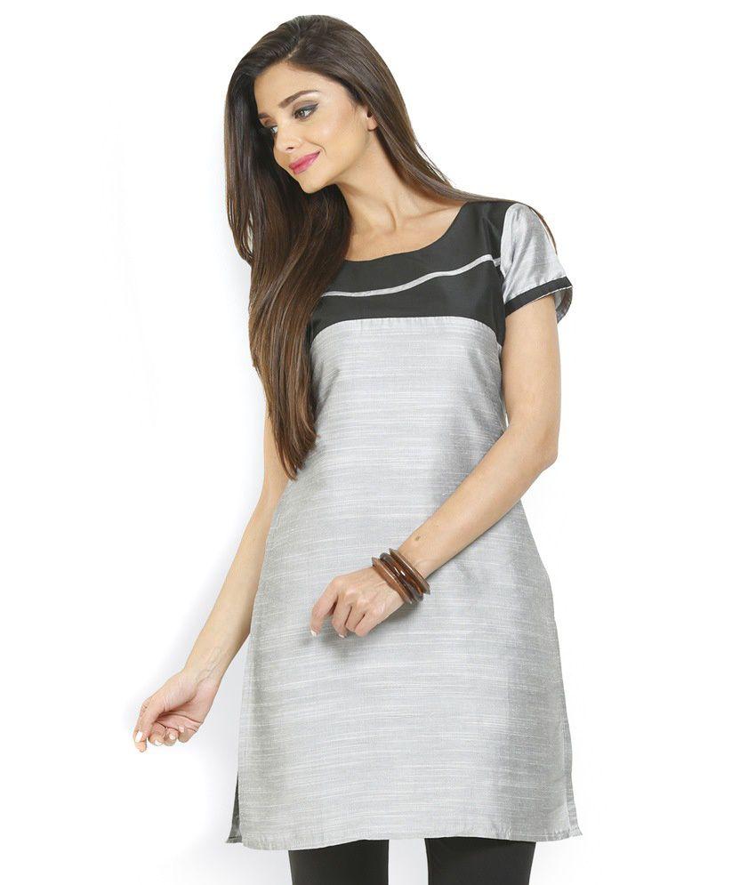 Hi Fi Gray Cotton Silk Plain Round Neck Kurti