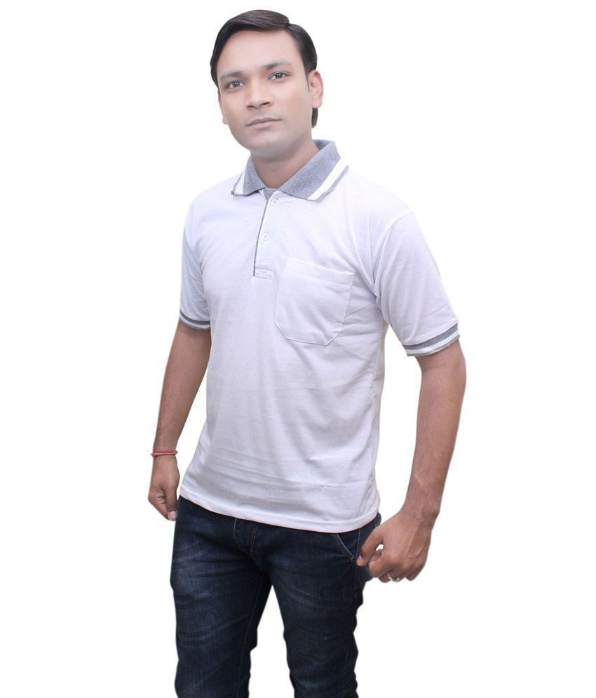 Mtc White Cotton Half Sleeves T-shirt
