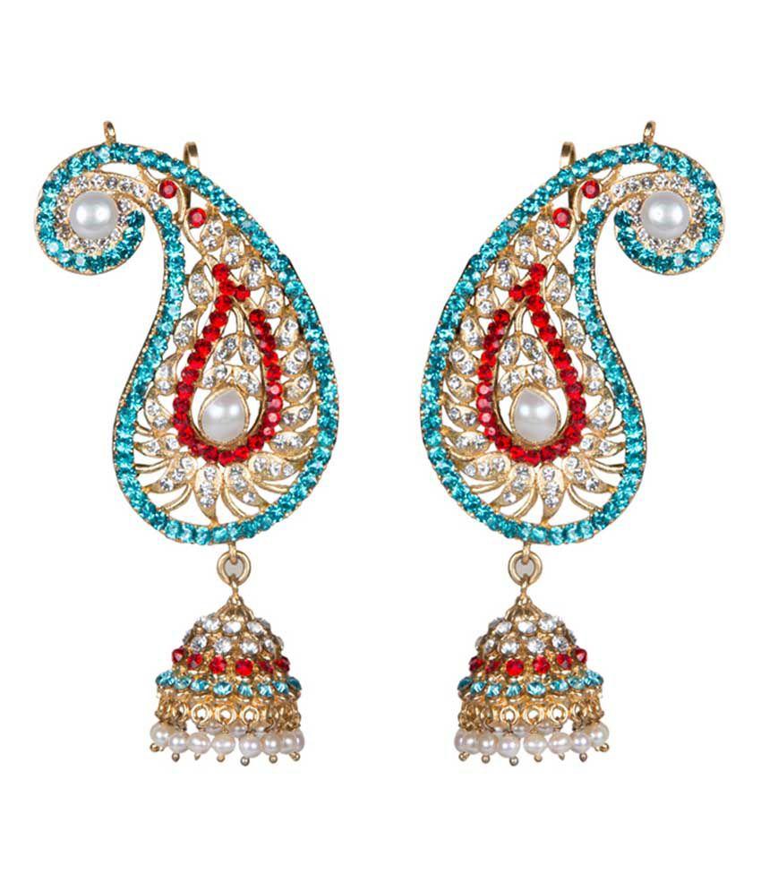 Taj Pearl Traditional Gold Plated Pearl Crystal Earrings