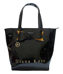 Diana Korr Black Faux Leather Shoulder Bag