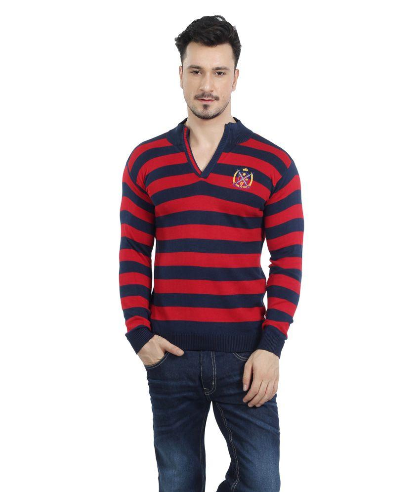 90one Red Cotton Blend Flatknit Henley Neck T shirt