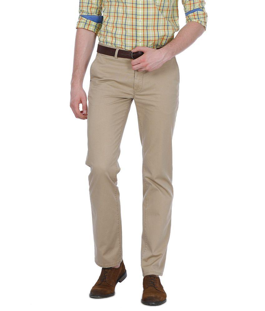Basics Beige Cotton Blend Casual Trouser