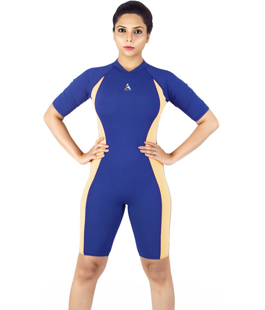 Attiva Dark Blue Short Sleeve Swimwear With Legging For Women/ Swimming Costume