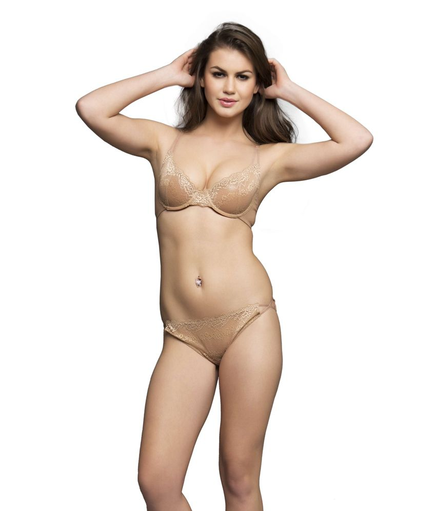 2dcbeb4531 Buy Clovia Beige Lace Bra   Panty Sets Online at Best Prices in ...