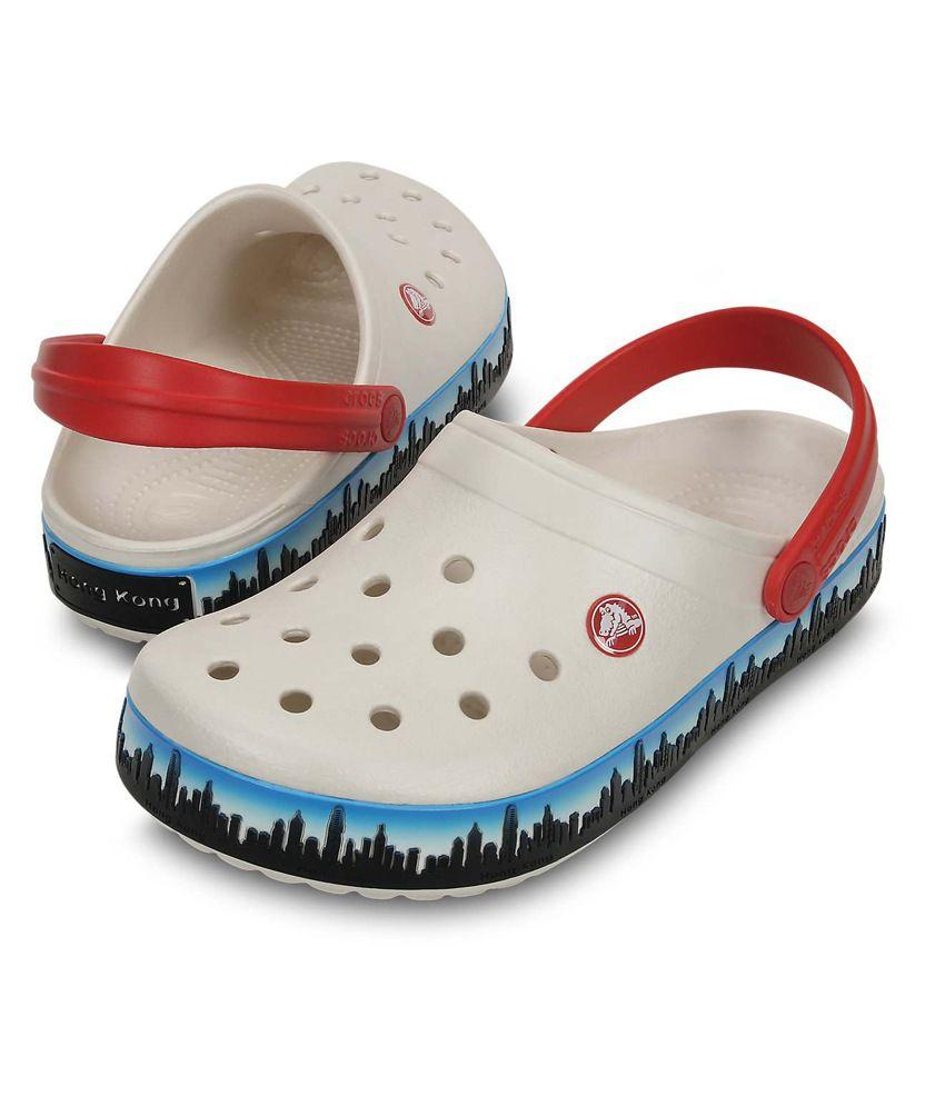 najlepsza strona internetowa przybywa nowe niższe ceny Crocs Roomy Fit Crocband HongKong Skyline Clog-Oyster-M4/W6 White Floater  Sandals