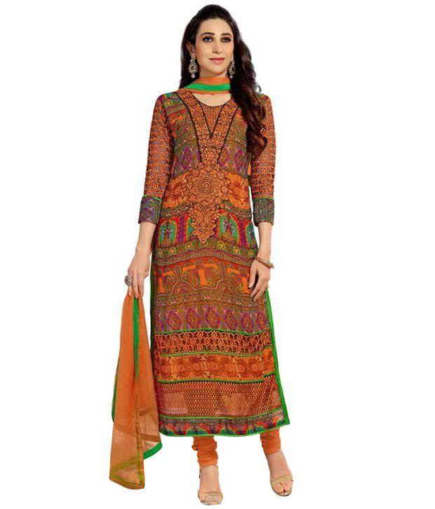 Khushali Orange Georgette Regular Unstitched Dress Material