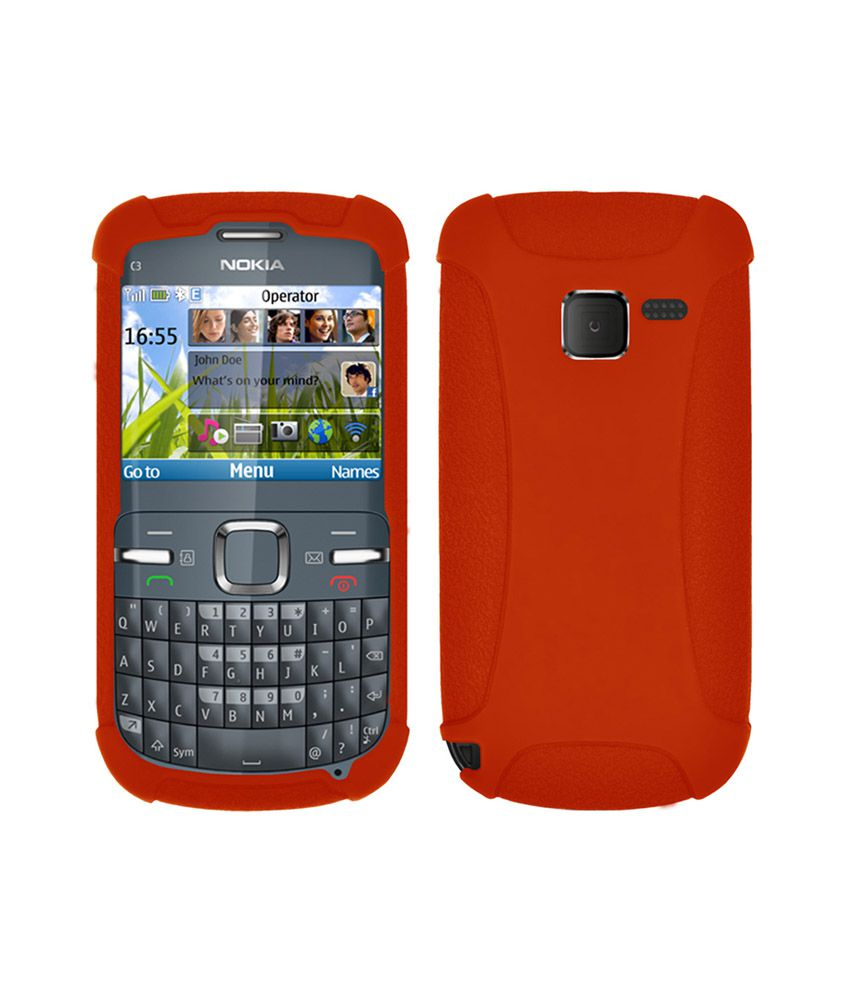 best service 38ebb 1ede6 Amzer Back Cover for Nokia C3 - Orange