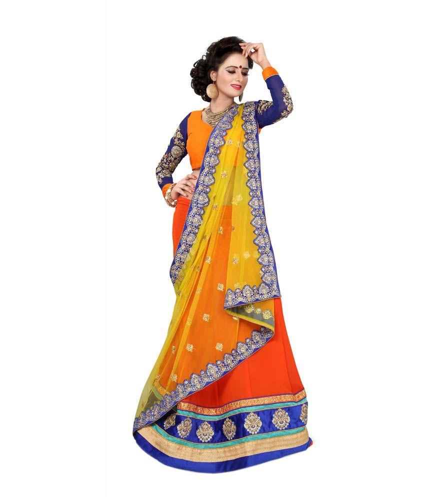 Atmiya fashion Orange Georgette Saree